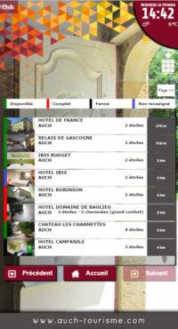 Capture d'écran de l'application de Auch avec les disponibilités hôtelières