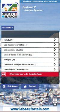 Capture d'écran de l'application du Beaufortain avec hiérarchisation