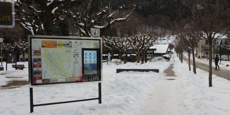 Borne interactive dans la neige au Mont Dore
