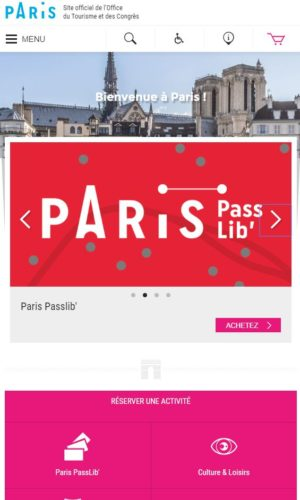 Image du site internet de l'office de tourisme de Paris