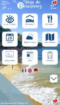 Ecran d'accueil de la borne interactive de Douarnenez