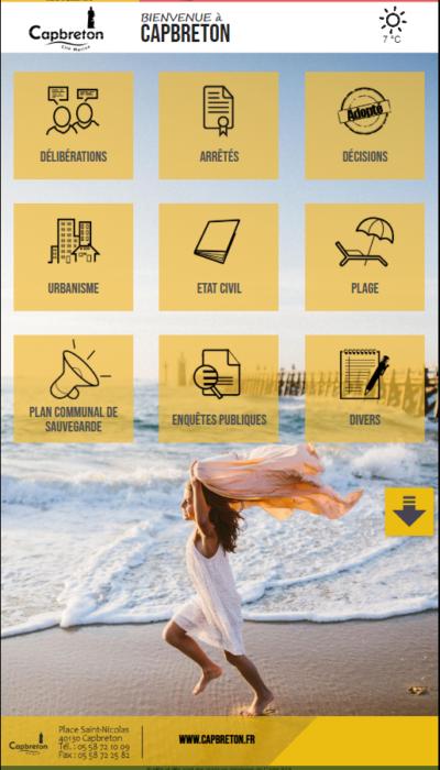 la page d'accueil de l'application pour l'information municipale numérique à la mairie de Capbreton
