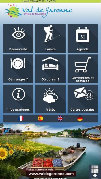 évolution de l'interface de l'application touristique à Marmande