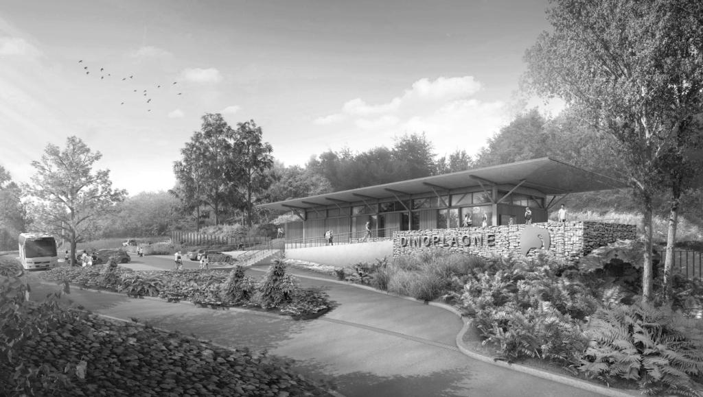 Illustration du parc dinosaure à plagne crédits: Megard Architectes