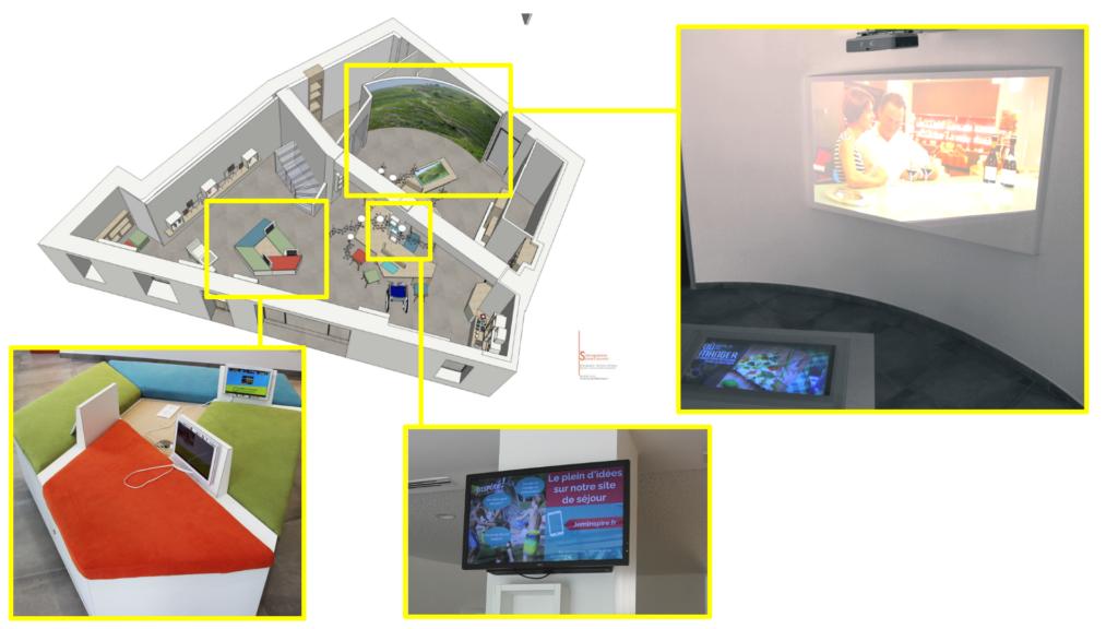 plan de l'architecture et installation des bornes numériques de l'office de tourisme de Drômardèche