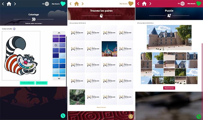 applications jeux : coloriage, mémory, puzzle